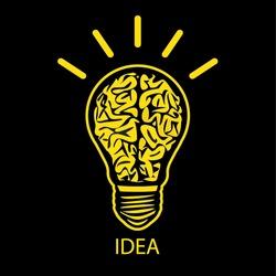 BULB BRAIN ICON WITH IDEA CONCEPT