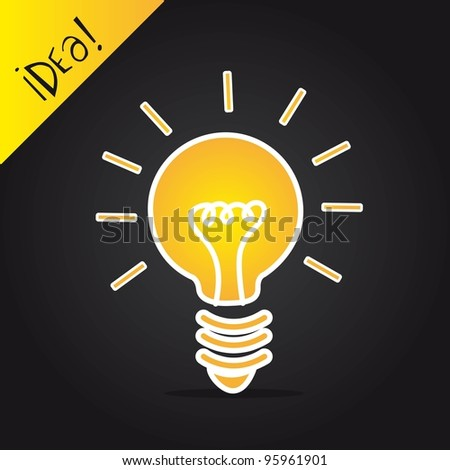 bulb electric over black background, idea. vector illustration