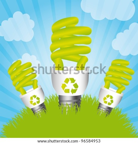 bulb electric over grass and sky, saving energy. vector illustration