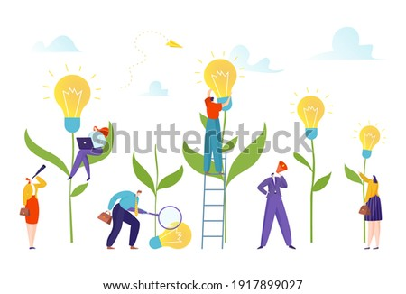 Bulb field tiny people grow new idea concept, profitable investment, design cartoon style vector illustration, isolated on white. Business start-up, economic growth, fee to future, reliable investor.