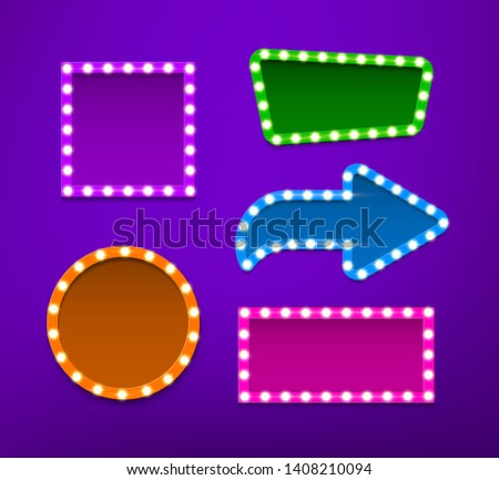 Bulb frames of different shapes vector collection. Illuminated borders for TV show adverts, cinema, theater marquee. Colorful empty signboards, signage in retro, vintage style. Glowing neon lights
