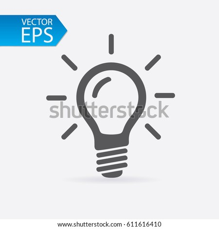 Bulb icon isolated on light background. Symbol of lighting, electric. Idea sign, thinking concept in flat style for graphic design, Web site, UI. EPS