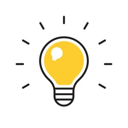 Bulb icon. Symbol of lighting, electric. Idea sign, thinking concept in flat style for graphic design.