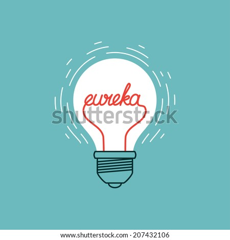 bulb icon with eureka concept