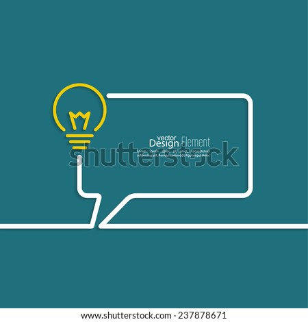 Bulb light idea. concept of big ideas inspiration innovation, invention, effective thinking. text. Speech Bubbles and Chat symbol. Outline.