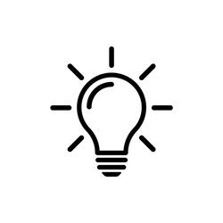 Bulb light vector icon. Lighting Electric lamp. Electricity, shine. Light Bulb icon vector, isolated on background. Bulb light icon - Idea sign, solution. Bulb light symbol Energy