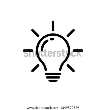 Bulb light vector icon. Lighting Electric lamp. Electricity, shine. Light Bulb icon vector, isolated on background. Bulb light icon - Idea sign, solution. Bulb light symbol Energy