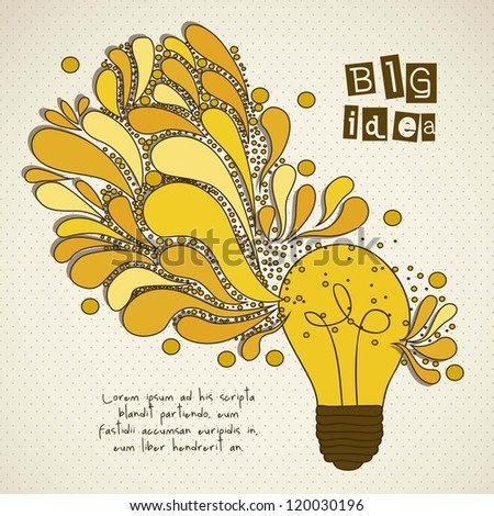 bulb representing an idea, with colorful drops, vector illustration