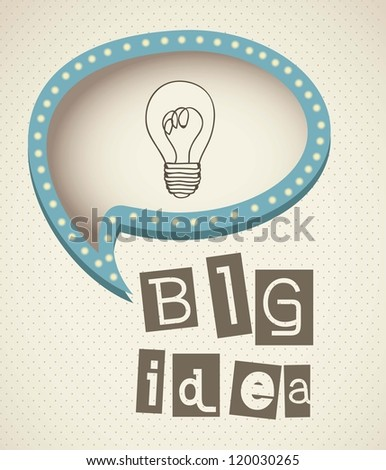 bulb representing an idea, with text balloon, vector illustration