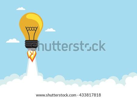 bulb rocket flying in the sky