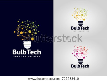 Bulb Tech Logo Template Design. Creative Vector Emblem, for Icon or Design Concept.