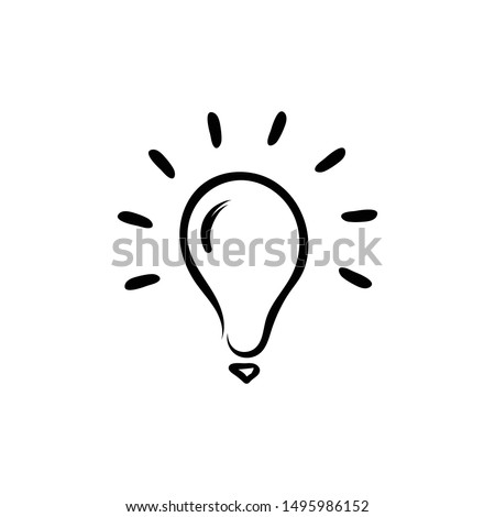 Bulb Vector Sketch Icon Hand drawn rough marker isolated on white background. Bulbs Symbol. Light bulb