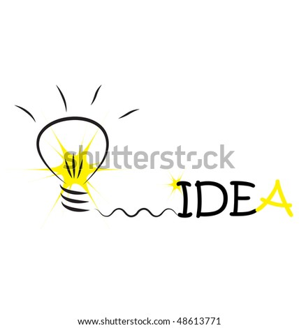 bulb with word idea and flash