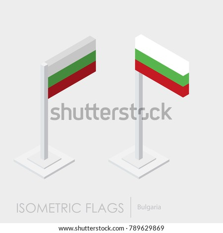 Bulgaria flag 3d isometric style
