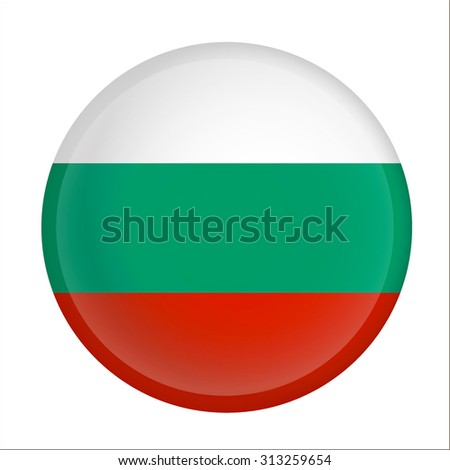 bulgaria flag Glossy Button - Vector