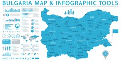 Bulgaria Map - Detailed Info Graphic Vector Illustration
