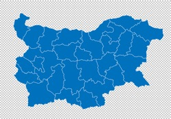 bulgaria map - High detailed blue map with counties/regions/states of bulgaria. bulgaria map isolated on transparent background.