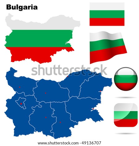 Bulgaria  vector set. Detailed country shape with region borders, flags and icons isolated on white background.