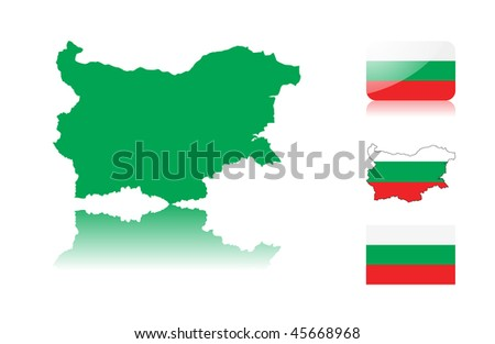 Bulgarian  map including: map with reflection, map in flag colors, glossy and normal flag of Bulgaria.