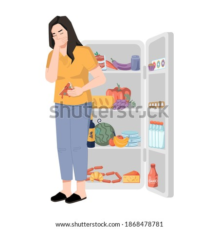 Bulimia nervosa, woman who overeats and feels sick isolated lady near refrigerator. Vector eating disorder, purging, underweight anorexic woman suffering from sickness and ache in stomach Сток-фото ©