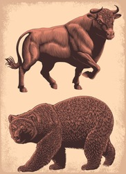 Bull and bear. Design set. Hand drawn engraving. Editable vector vintage illustration. Isolated on light background. 8 EPS