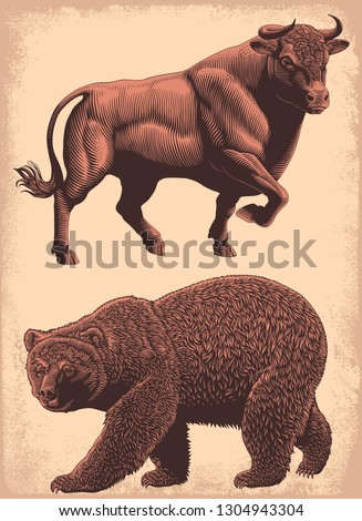 Bull and bear. Design set. Hand drawn engraving. Editable vector vintage illustration. Isolated on light background. 8 EPS
