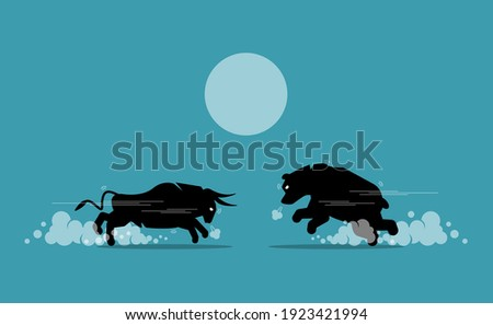 Bull and bear face off in stock market exchange. Vector illustration concept of bullish and bearish market competing, share market trend, and financial equity investment.  Photo stock ©