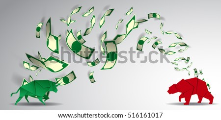 Bull and Bear paper art  for stock market vector and illustration