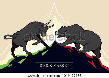 Bull and bear, symbols of stock market trends. Vector illustration