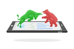 Bull and bear with graph on tablet,financial concept on white