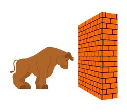 Bull and Brick wall. Big power buffalo and Block side