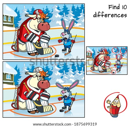 Bull and Rabbit are playing hockey. Find 10 differences. Educational game for children. Cartoon vector illustration