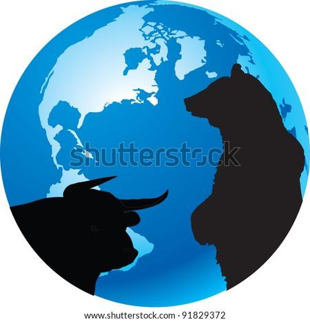 bull, bear, planet earth