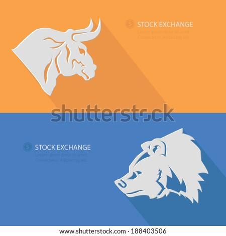 Bull & Bear,Stock exchange concept,Blank for text,vector