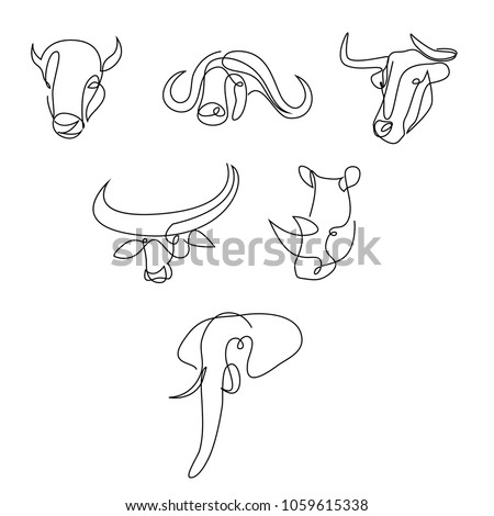 Bull, buffalo, rhinoceros and elephant continuous line set. One line animal logo collection.