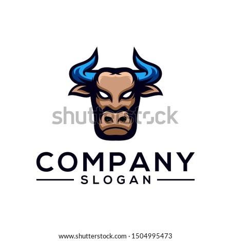 bull color logo design vector