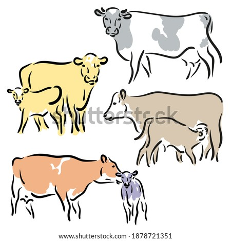 Bull, cow, ox a calf Drawing. Stylized silhouettes of standing in different colors. Isolated on white background. Bull logo designs set. simple hand Vector illustration. Chinese happy new year 2021.