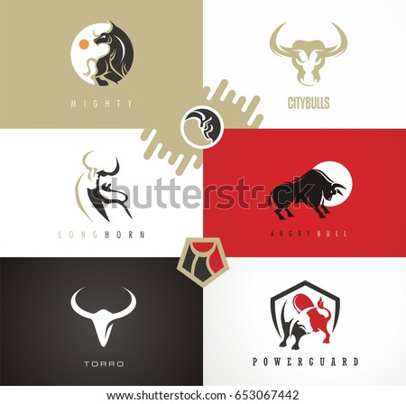 Bull drawings, emblems, logos, signs and symbols set. Artistic vector design with powerful animals. EPS 10 image. Great symbol for strength and life struggle.