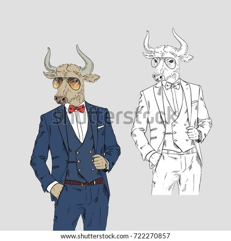 bull dressed up in classy style ...