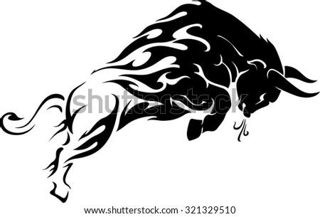 bull flame trail tattoo