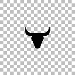 Bull Head. Black flat icon on a transparent background. Pictogram for your project
