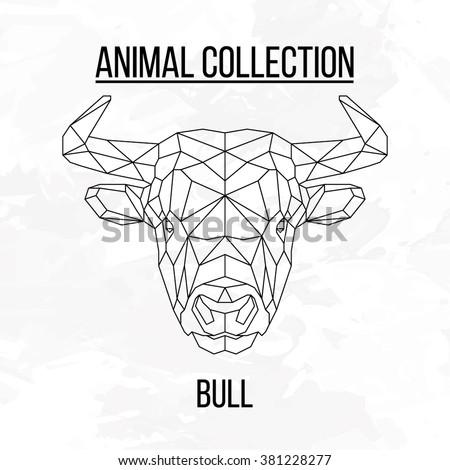 bull head geometric lines