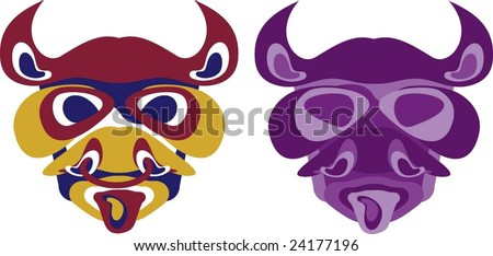 Bull Head Mascot - aboriginal style