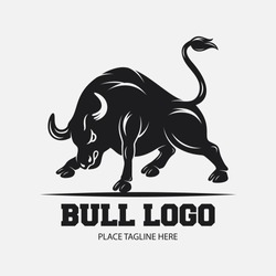 Bull icon design template on a white background