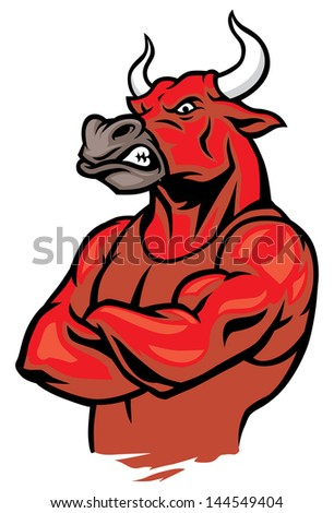 bull in crossed arm pose and showing the muscles #144549404