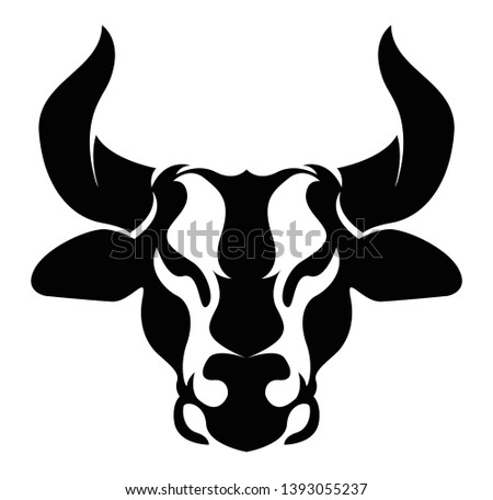 Bull logo. Angus icon. Taurus illustration design. Cow head mascot. Steakhouse, bbq or grill logotype. Suitable for ranch, steakhouse, restaurants, farms, meat and cattle.