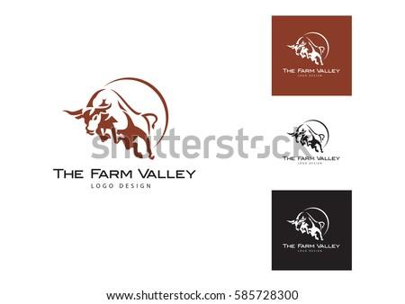 Bull  logo. Stable, farm,Valley,Company, Race logo design.
