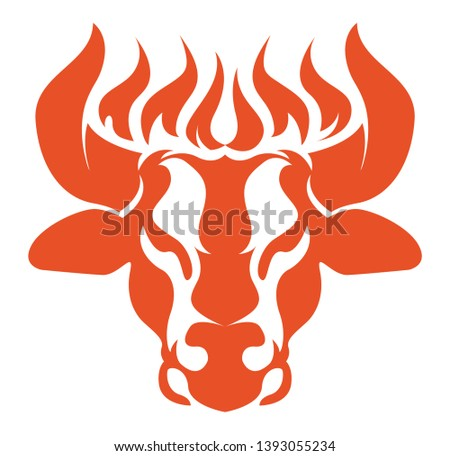 Bull logo with fire on the horns. Angus icon. Taurus illustration design. Cow head mascot. Steakhouse, bbq or grill logotype. Suitable for ranch, steakhouse, restaurants, farms, meat and cattle.