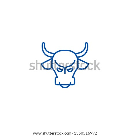 Bull market,stock market,bullish line icon concept. Bull market,stock market,bullish flat  vector symbol, sign, outline illustration.