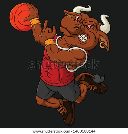 Bull mascot for a basketball team isolated on a dark background. Hand drawn illustration-Vector art.